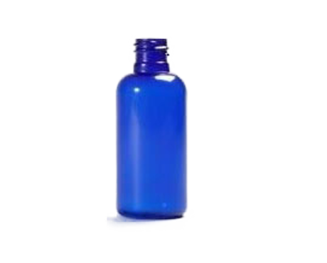 Bottle, Blue Boston Round Plastic PET (50ml) (Without lid)