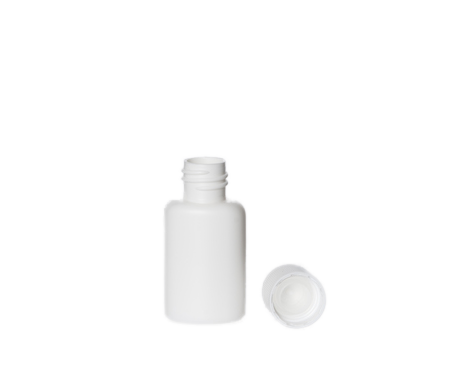 Bottle, White Plastic with Screw Lid (20 ml)