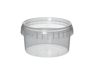 Transparent Plastic Tubs with Tamper Proof Lids