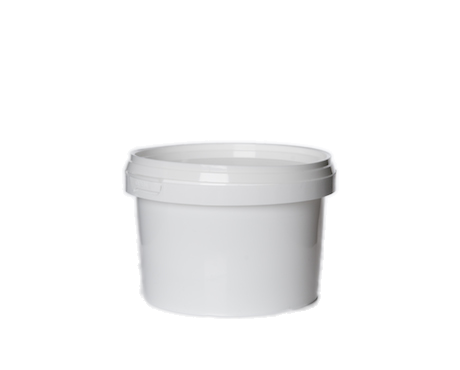 Tub, White Plastic with Lid (500 ml)