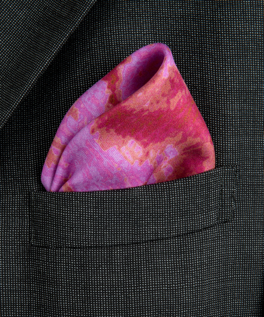 Phaeocystis Pink Silk Pocket Square