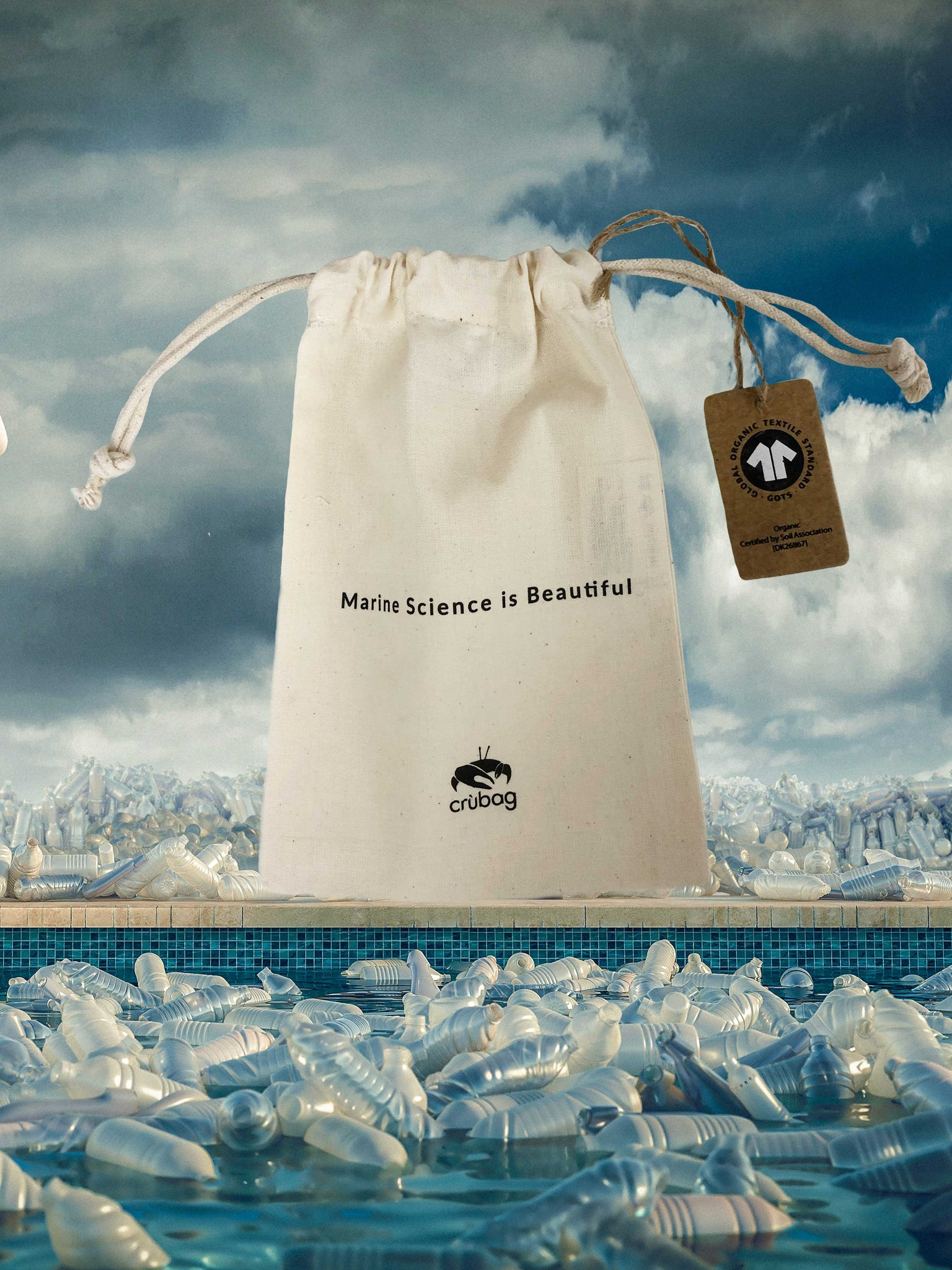 Hydrothermal Vents offcut mask + 'Marine Science is Beautiful' organic cotton string bag