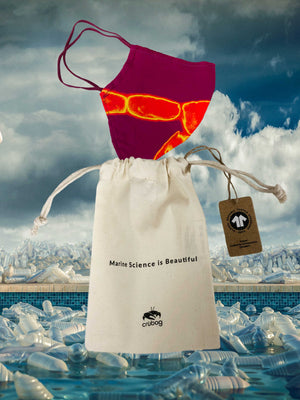 Freedom Fuchsia offcut mask + 'Marine Science is Beautiful' organic cotton string bag