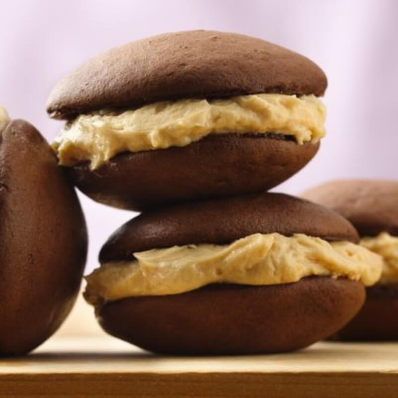 Flavourful Low Carb Chocolate Peanut Butter Whoopie Pies. Perfect for parties and birthdays