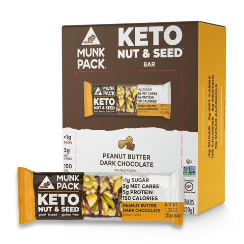 Munk Pack Peanut Butter Dark Chocolate Keto Nut & Seed Bars with <1g Sugar, 3g Net Carbs