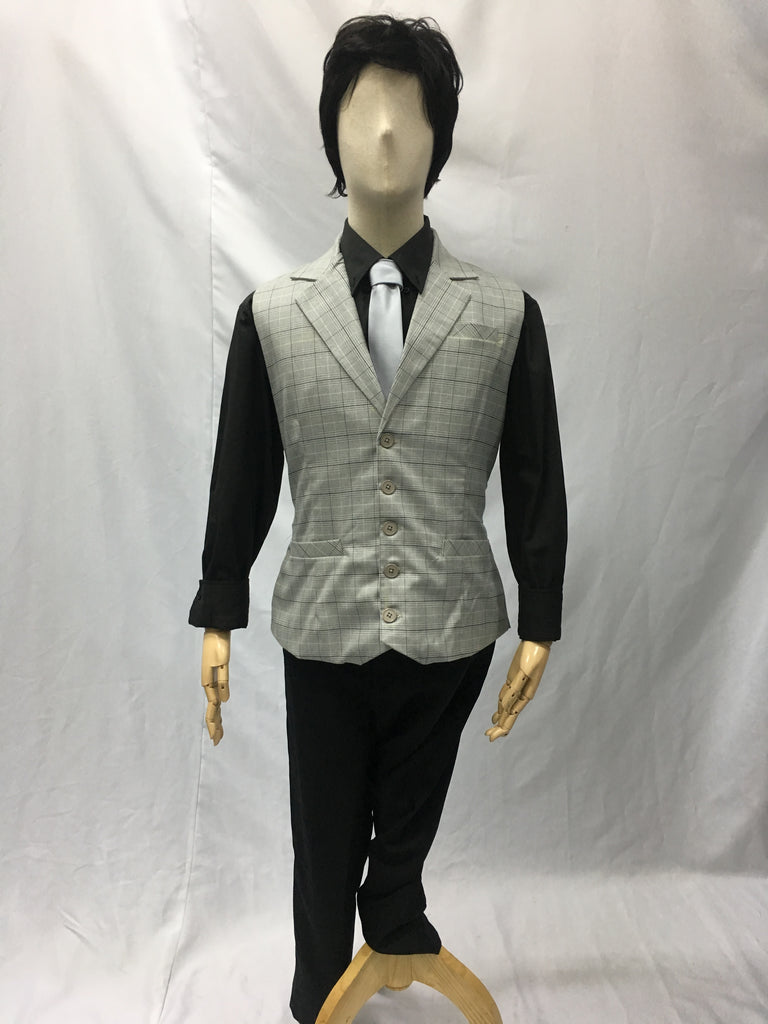 Light Grey Woven Checkered Vest | Awesome Costume Singapore