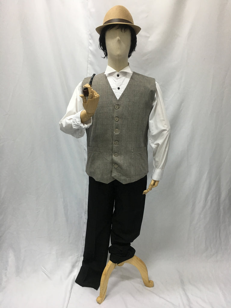 Grey / Brown Woven Checkered Vest | Awesome Costumes Singapore