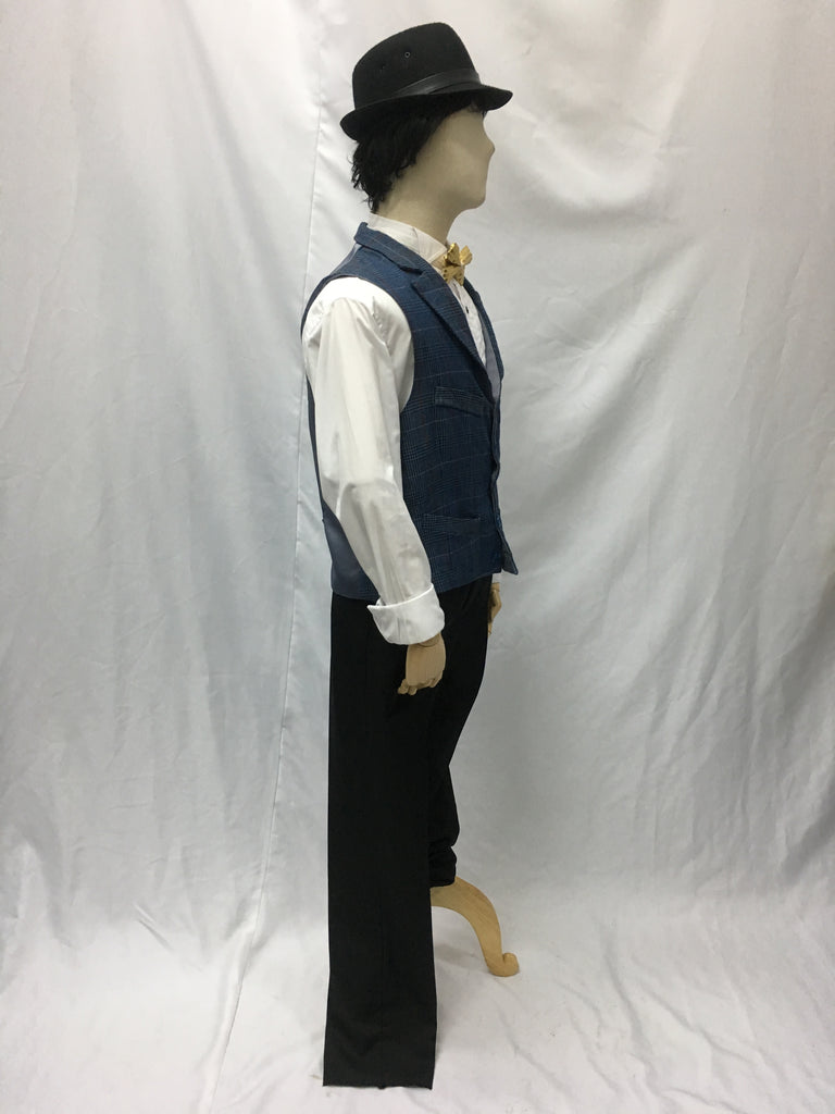 Blue Woven Checked Vest | Awesome Costumes Singapore