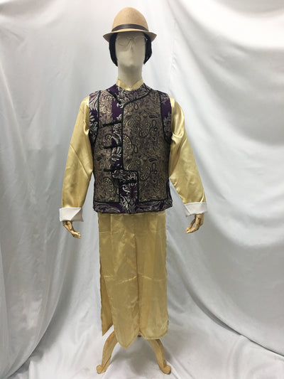 Traditional Men's Chang Pao, Gold and Purple Brocade Vest