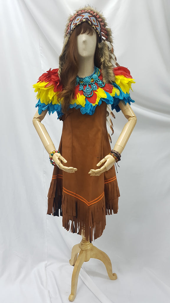 Brown Suede with Colorful Feathers | Awesome Costumes Singapore