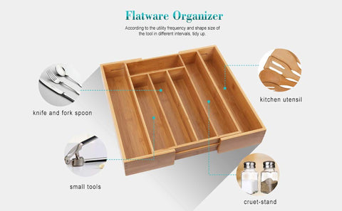 HARRA HOME Adjustable Drawers Organizer, Expandable cutlery sliding tray, tidying up small boxes for kitchen utensils, silverware, toolbox, flatware, office desk drawer Divider and junk