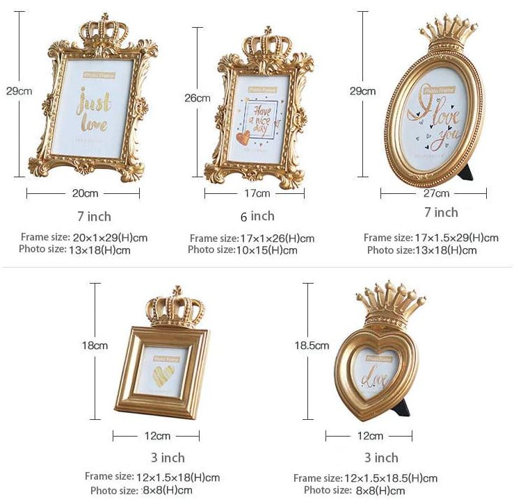 Luxury Baroque Style Gold Crown Decor Creative Picture Frame, Photo Frame, Great for Gift Home Wedding Decoration