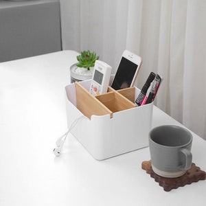 Modern Simple Bamboo Storage Box Multi - Functional 5 Grid Desktop Organizer Remote Controller Cosmetic Storage Boxes