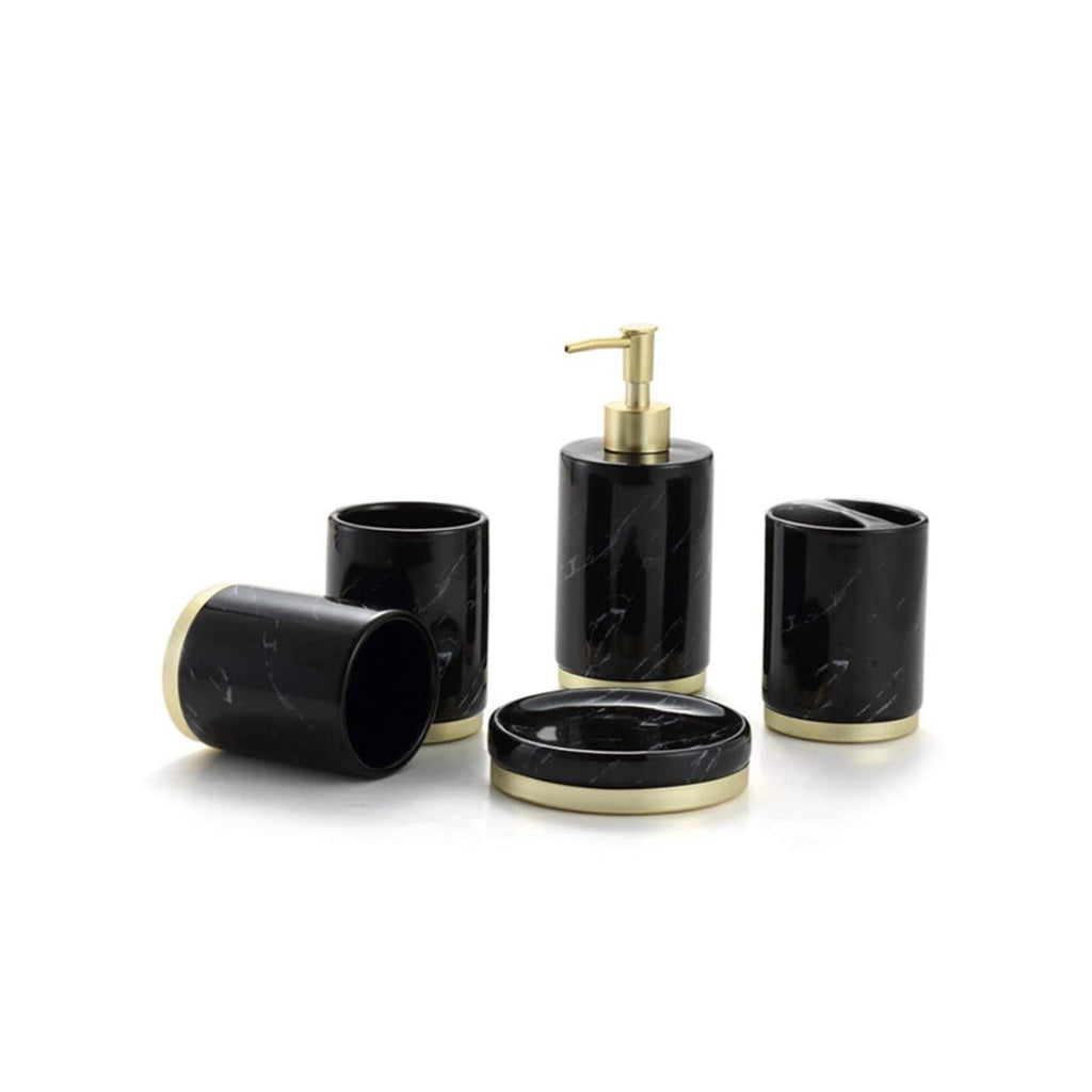 HARRA HOME Gold Accent Marble Design Ceramic Bathroom Vanity Countertop Accessory Set - Includes Refillable Soap Dispenser, Soap Dish, Toothbrush Holder Stand, Tumbler Rinsing Cup (Black)