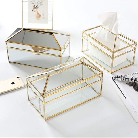 HARRA HOME Gold & Modern Clear Rectangle Facial Tissue Box Cover Dispenser Toilet Napkin Organizer Tissues Holder for Bathroom Vanity Counter Tops, Bedroom Dressers, Night Stands, Desks, Table