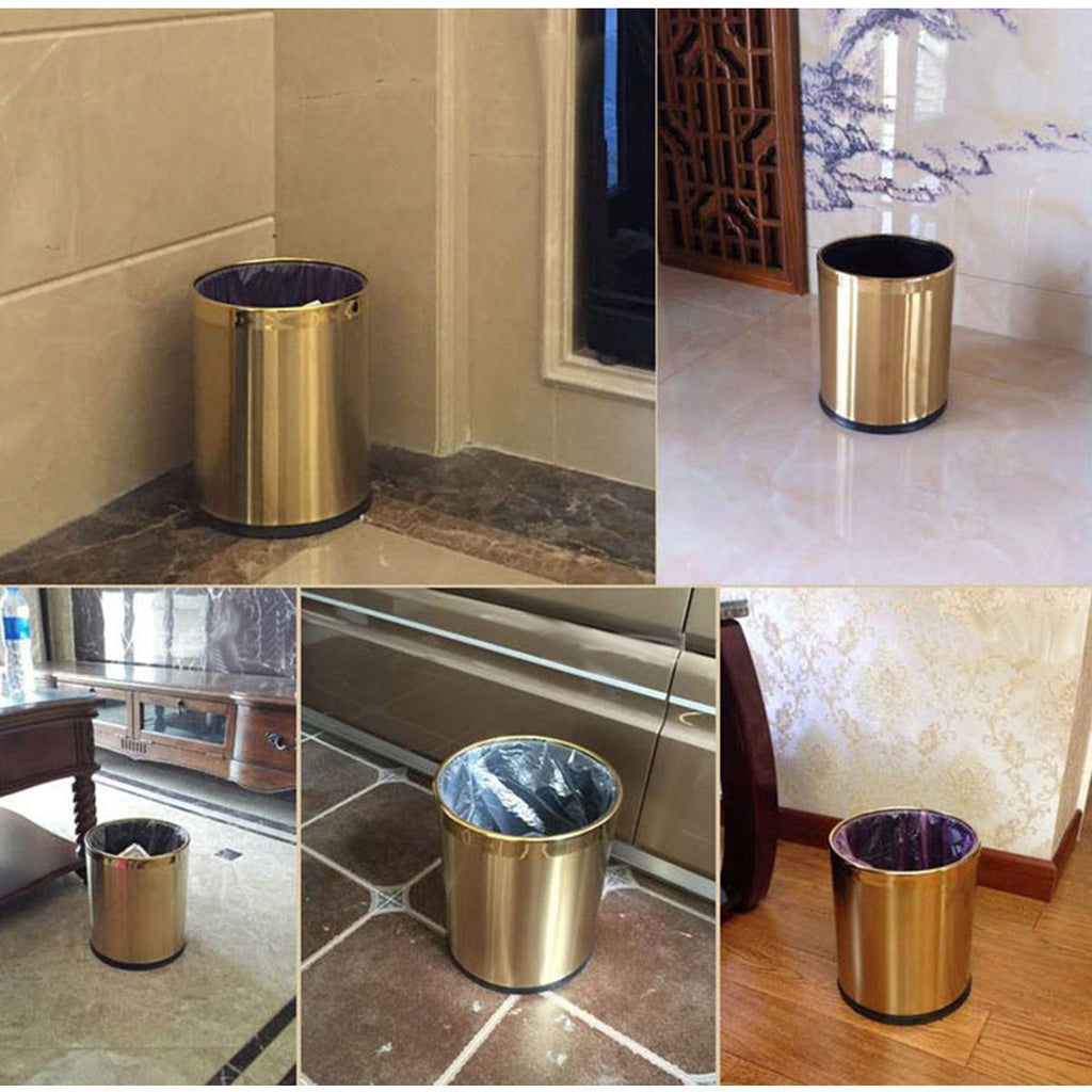 HARRA HOME Open Top Modern Round Metal Small Trash Can Wastebasket Garbage Container Bin for Bathroom Office Bedroom Home, Durable Stainless Steel Brass Trashcan
