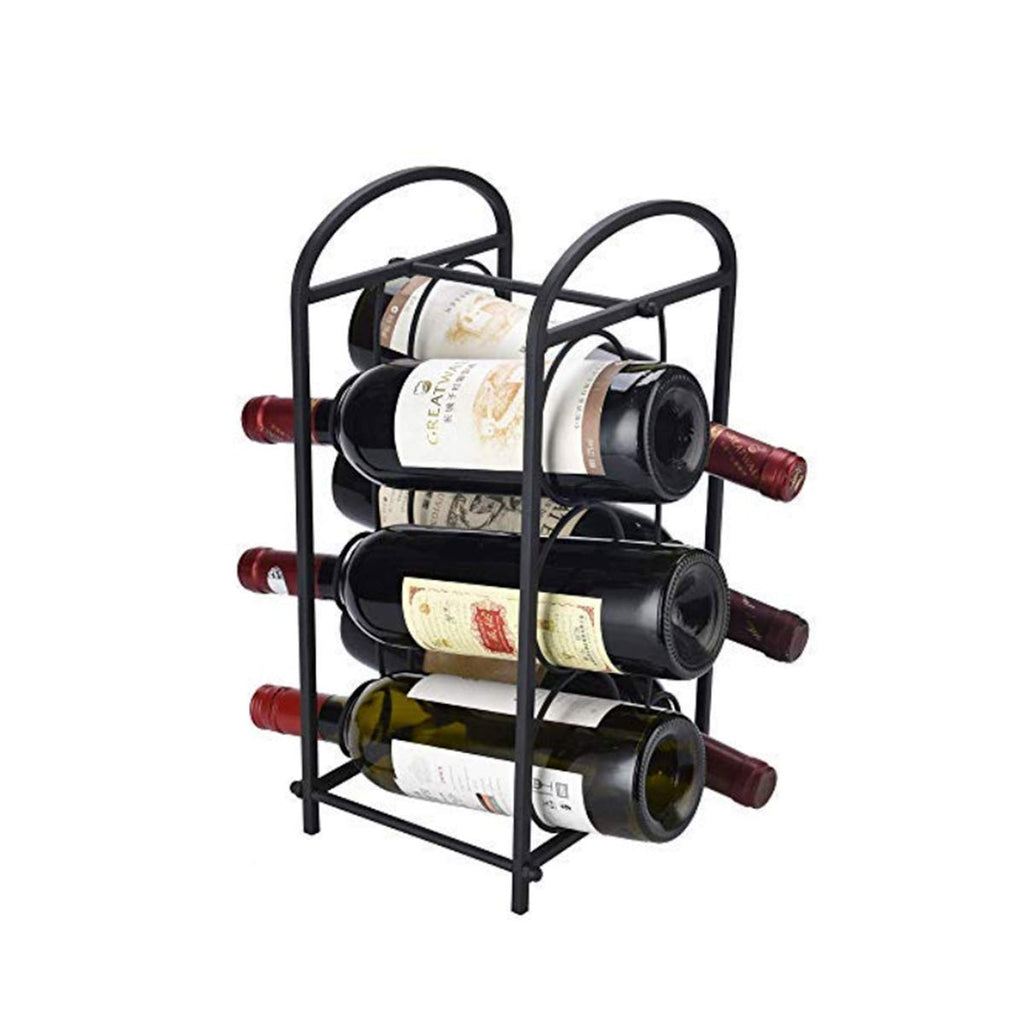 HARRA HOME Modern Free Standing Countertop Wine Rack - Stores 6 Bottles, Wine Storage Holder Stand for Cabinet Home Décor Tabletop - Minimal Assembly Required, Black