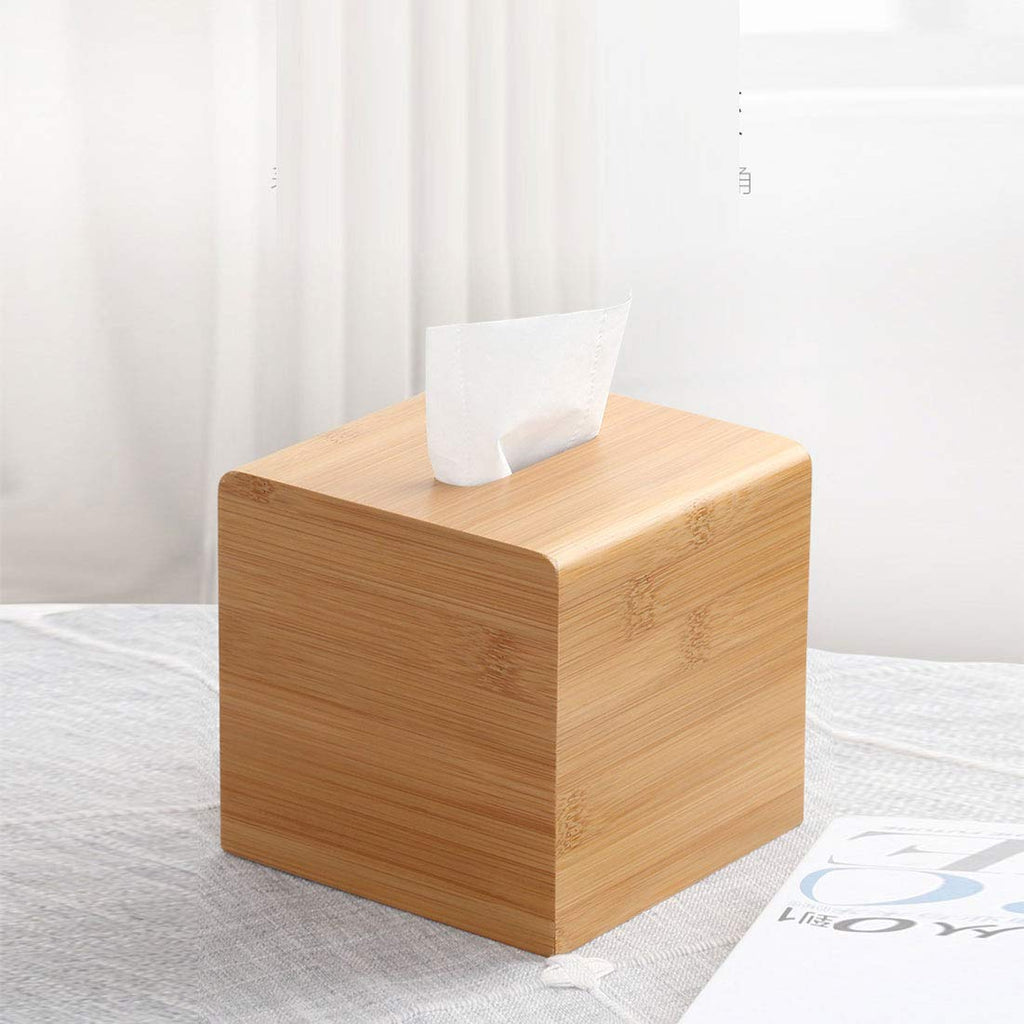 HARRA HOME Natural Bamboo Square Facial Tissue Storage Paper Box Cover Napkin Case Holder for Bathroom Vanity Counter Tops, Bedroom Dressers, Night Stands, Desks and Tables