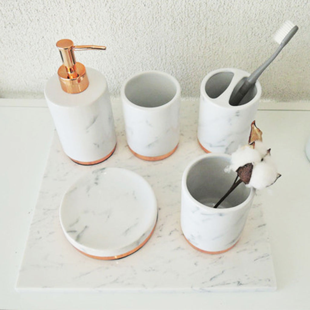 HARRA HOME Gold Accent White Marble Decorative Ceramic Bathroom Vanity Countertop Accessories Set - Includes Dispenser Pump, Toothbrush Stand, Makeup Holder, Tumbler Rinsing Cup, Soap Tray