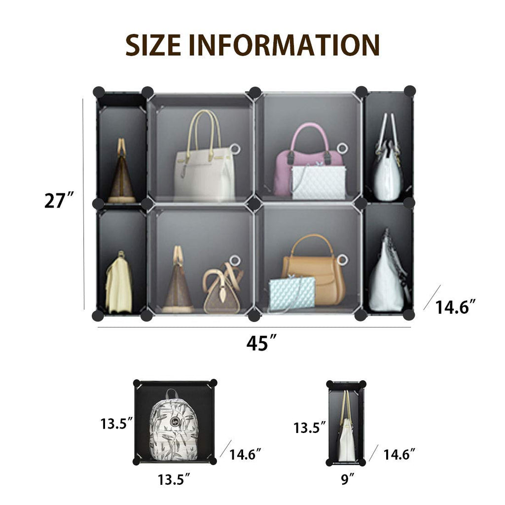 HARRA HOME Versatile Handbag Storage, Tote, Clutch, Purse and Bag Organizer, Closet Space-Saving DIY Cube Shelf & Cabinet Cubby Organizers