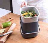 HARRA HOME Double Layer Waste Compost Bin with lid, Odor free Food Trash Container Compostable Bin, Indoor Composter Caddy Box Garbage Pail Charcoal Bucket for Kitchen Countertop, Garden
