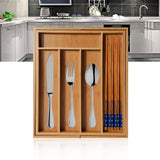 Expandable Bamboo Drawer Organizer Cutlery Tray For Tyding Up Kitchen Multi-Functional Drawer Storage Box