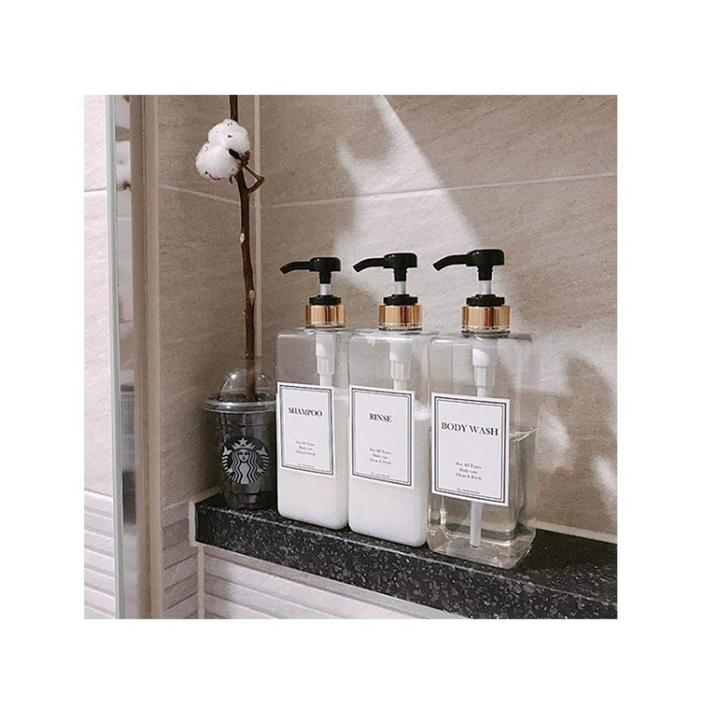 Shampoo and Conditioner Bottles White Shampoo Conditioner and Body Wash Dispensers Set of 3 Heartland Lettering Modern Shampoo Bottles with Pump