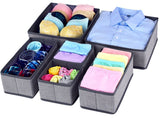 HARRA HOME Soft Fabric Drawer Organizer, Clothes Box For Underwear Bra Sock Tie Scarf, Organizing Child Baby Kids Room, Nursery Closet Drawer Divider, Set Of 6