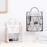 Nordic Metal Gold Magazine rack & Newspaper stand, Wall Hanging Elegant Storage Basket Organizer