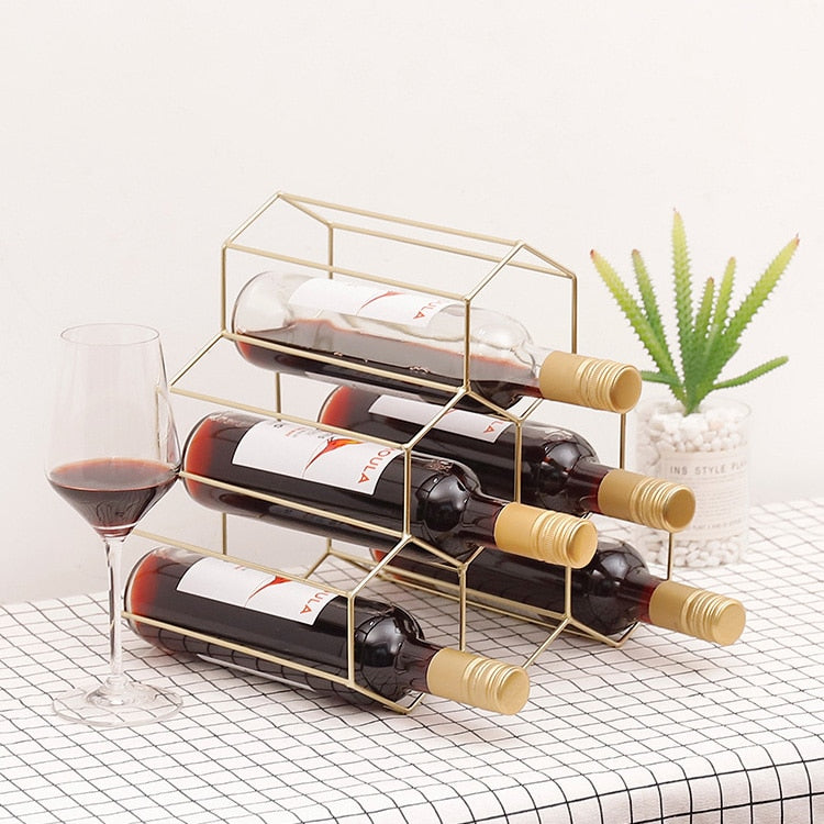 Creative Geometric Wine Rack Metal Simple Household Grape Wine Rack Restaurant Living Room Bar Wine Cabinet Wine Display