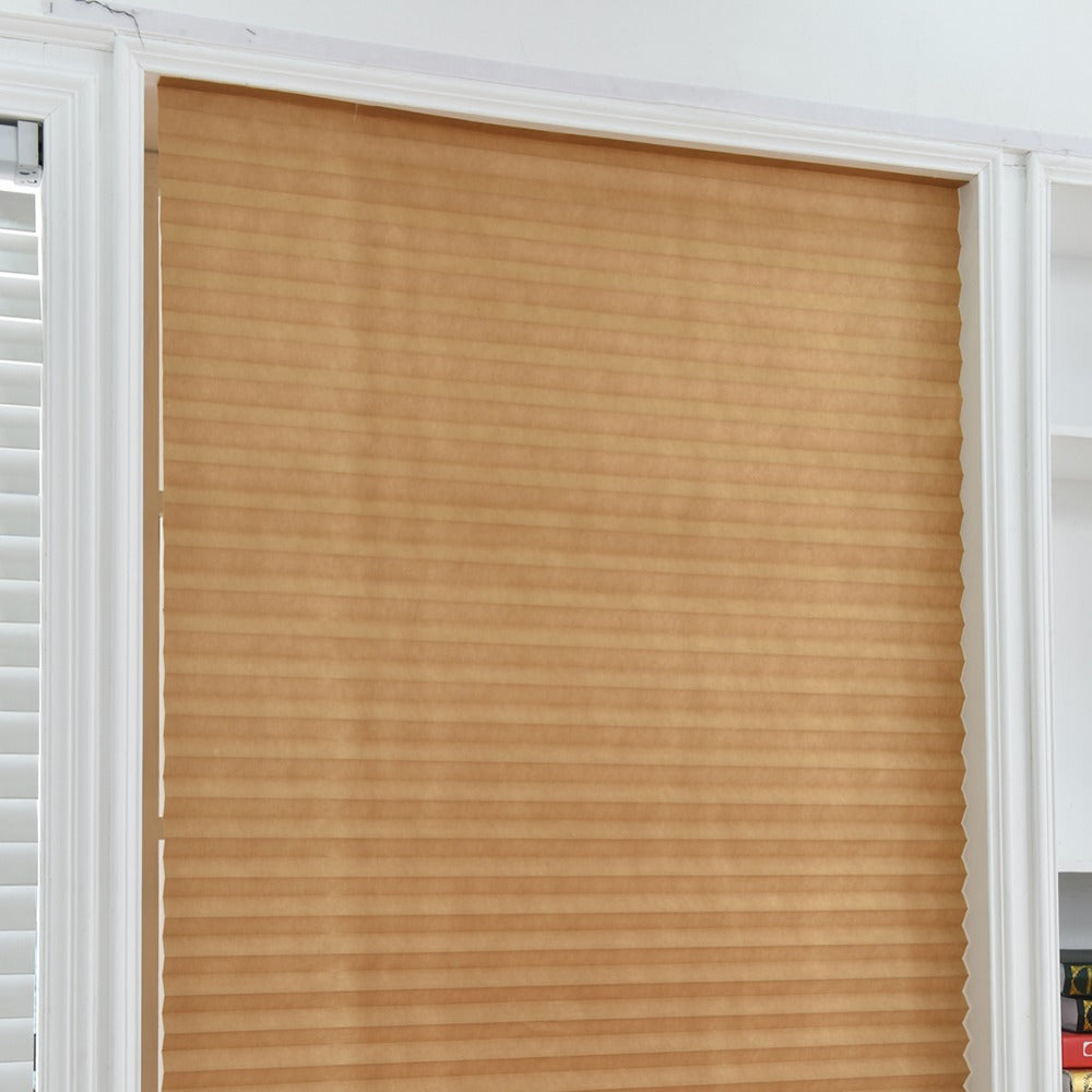 Interior window blinds,  Self-Adhesive Pleated Blinds Half Blackout Windows Curtains for Bathroom Kitchen Balcony Shades For Coffee/Office Door