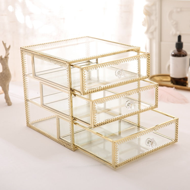 Jewelry Organizer tidying up collection box glass drawer cosmetics storage box organizer containers