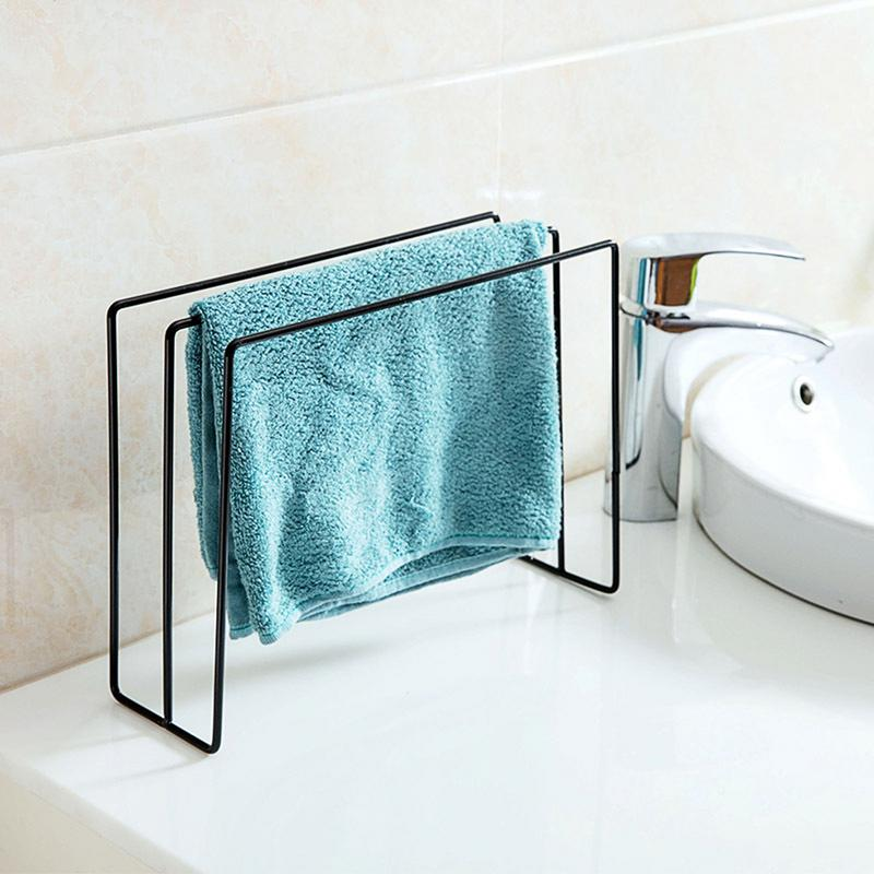 Iron Towel Rack Stand for Bathroom, Kitchen Tableware Dish Cloth Storage Holder Cleaning Rag Shelf