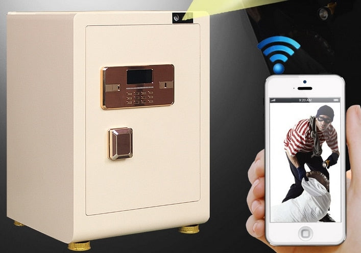 Fingerprint facial recognition safe Lockers, Cellphone wireless app remote monitor video control wifi office home electronic locker safes