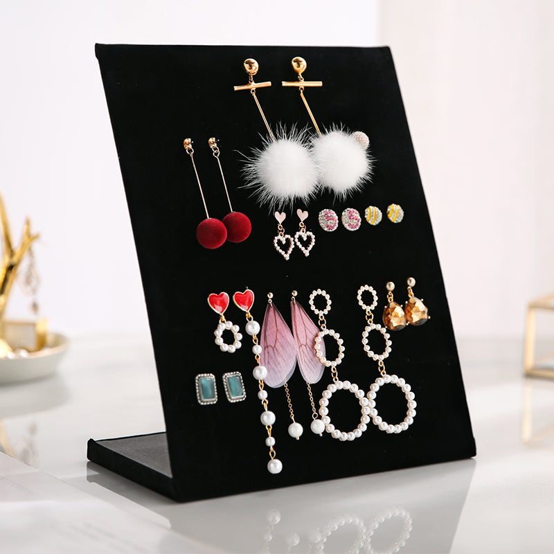 L Shape Earring Display Stand Holder Velvet Stud Earrings Display Rack Pin Ear Ring Jewelry Storage Holder Shelf (60 pairs)
