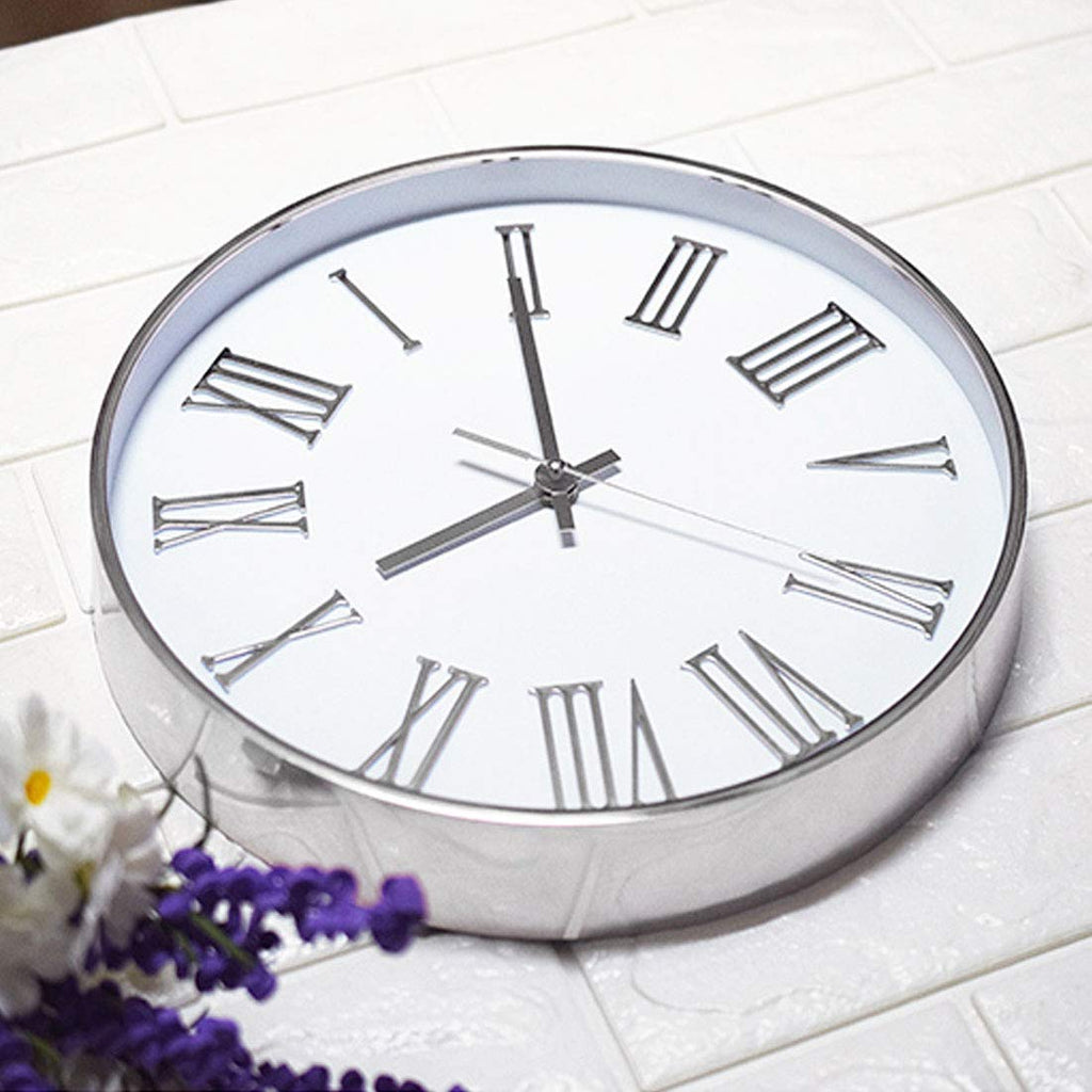 Modern Silent Non-Ticking Wall Clock 12 inch, Decorative Wall Clock for Home Living Room Bathroom Bedroom School Office Clocks, Roman Numeral Plastic Frame, Glass Cover