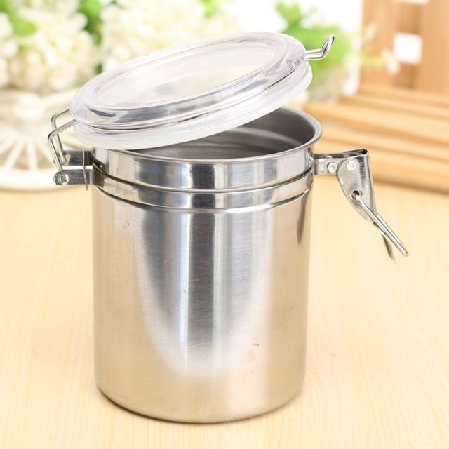 Storage Bottles & Jars - Stainless Steel Airtight Sealed Canister Coffee Bean Flour Tea Container Jar Box S-XL Size