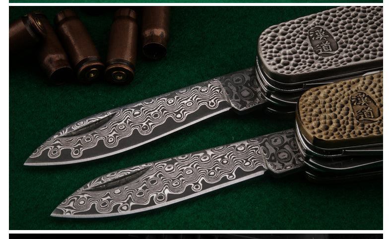 The hans damascus military knife 14cm silver