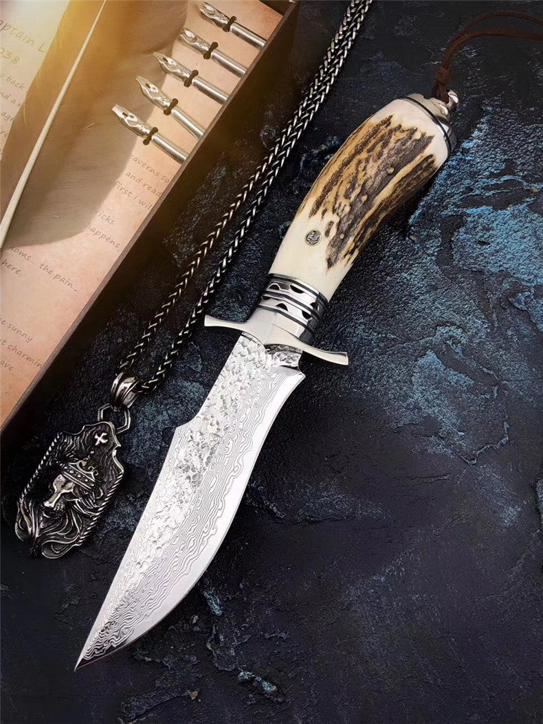 The bux damascus fixed blade knife 26CM