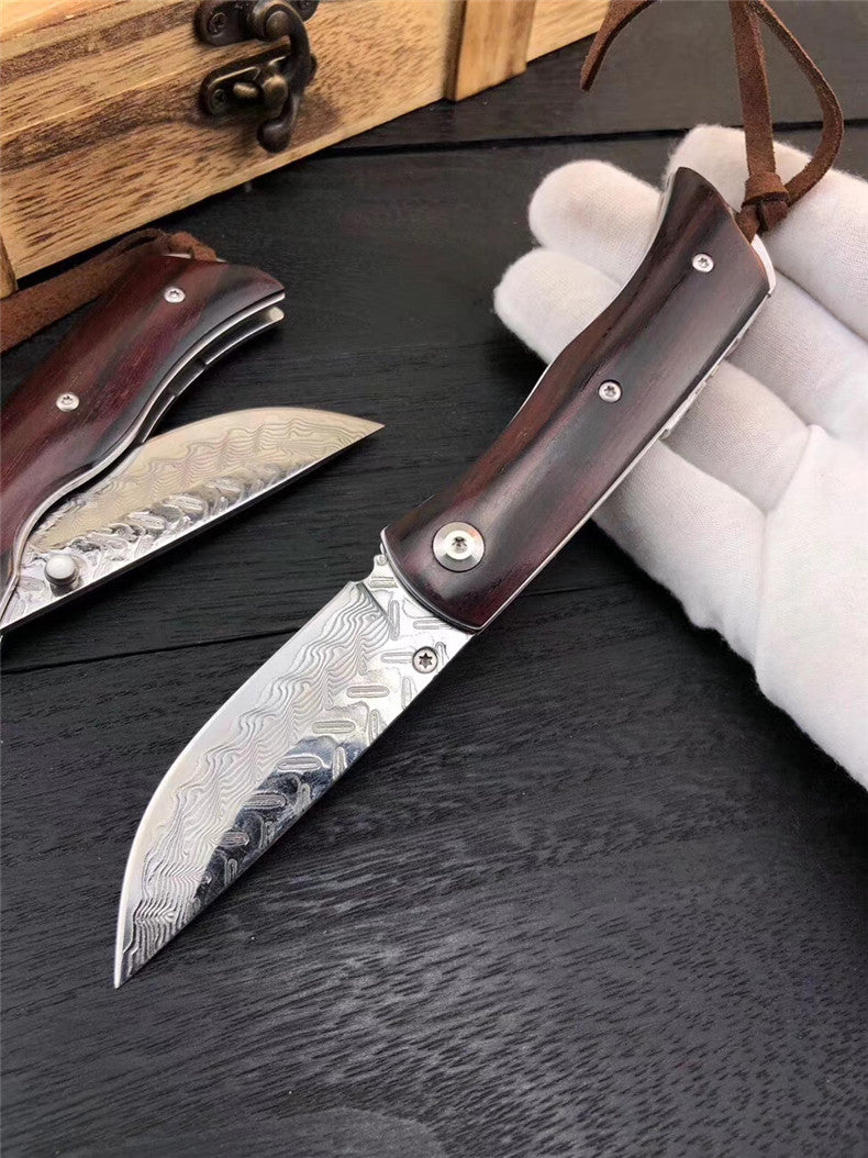 The detective damascus folding knife 17CM