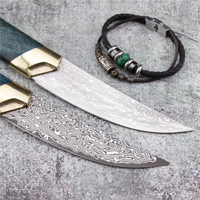 The dog's blade damascus fixed blade knife 24CM