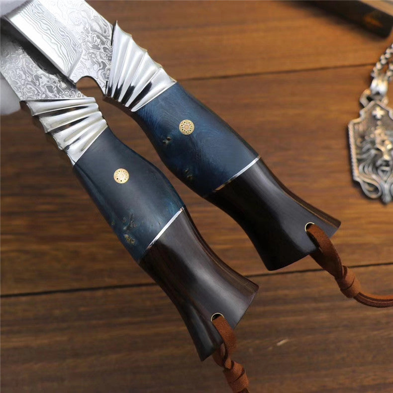 The finch damascus fixed blade knife 24CM