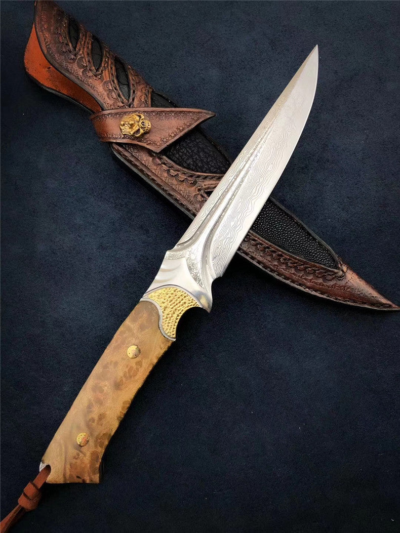 The fox damascus fixed blade knife 26CM