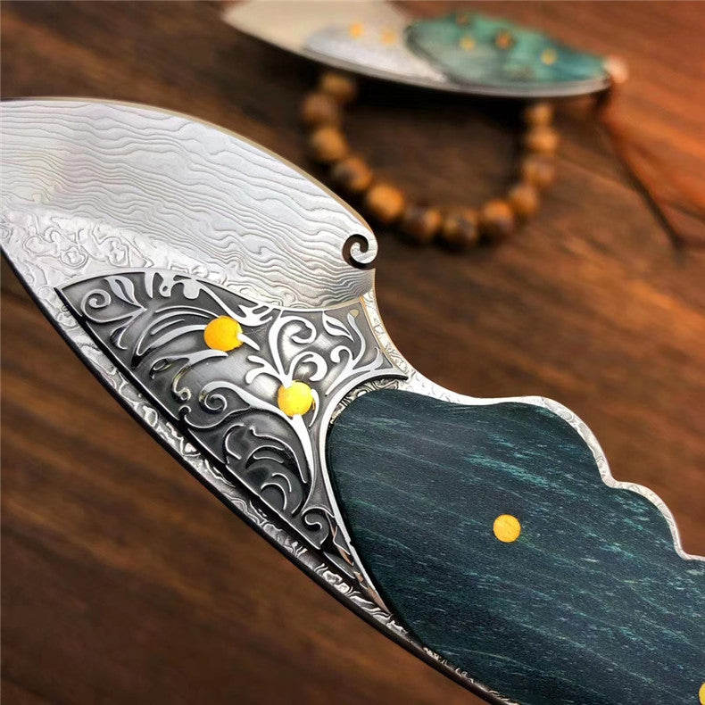 The green snapper damascus folding pocket knife 12 CM