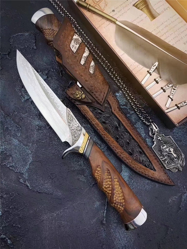 The maple damascus fixed blade 27CM