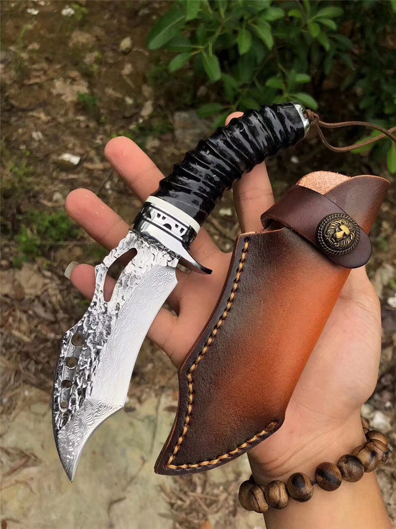 The vulture damascus fixed blade knife 21 CM