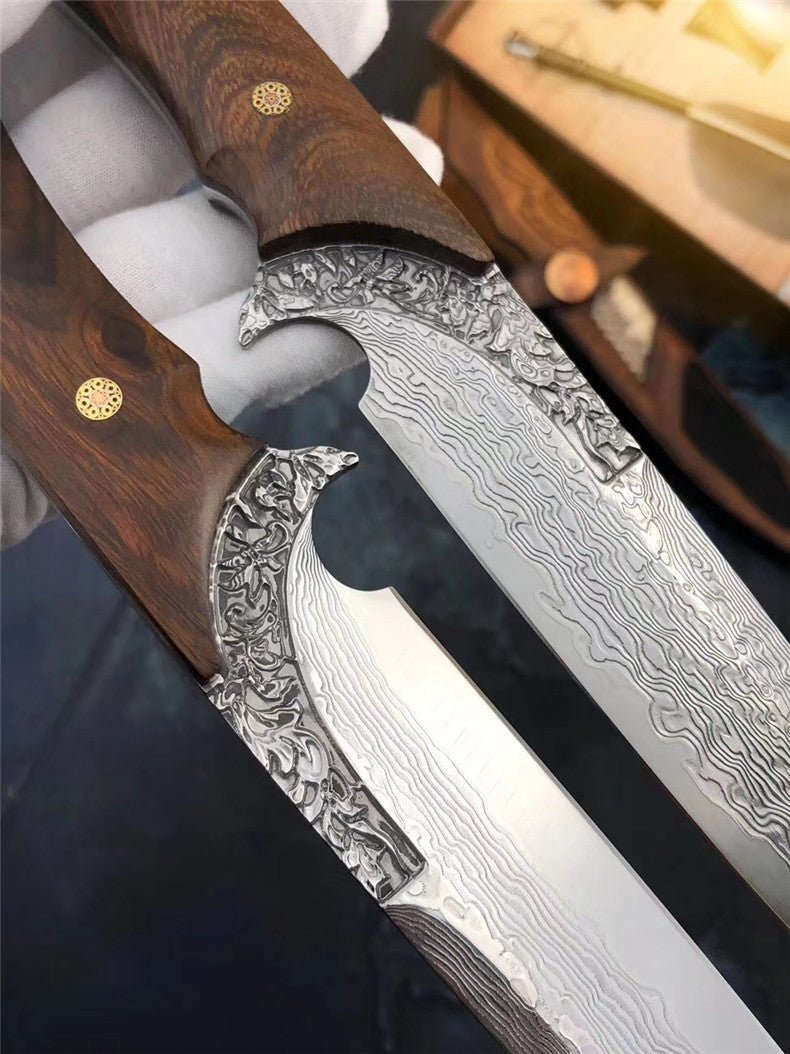 The wisdom damascus fixed blade knife 27CM