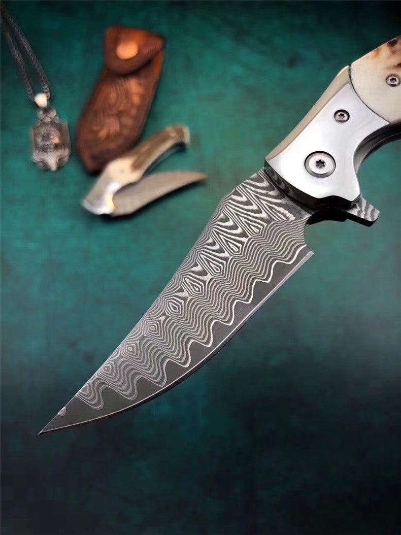 The footprint Damascus Pocket Knife 20CM