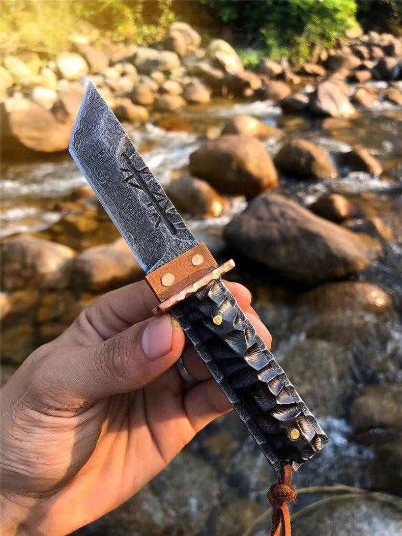 The Prajna Warrior Damascus steel pocket knife