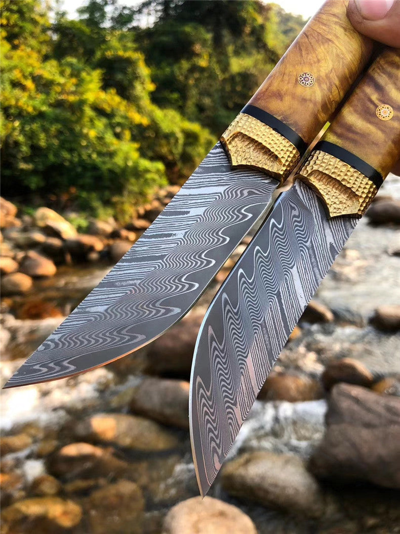 The Roland Warrior Damascus steel fixed blade